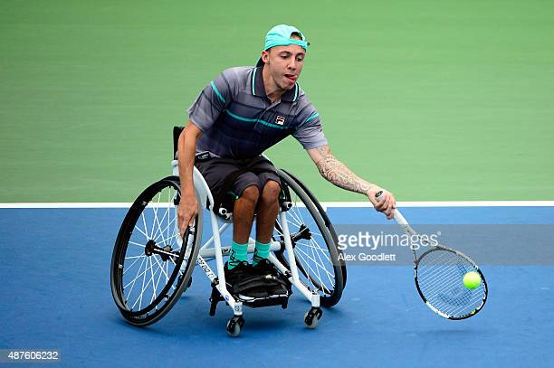 Andrew Lapthorne of Great Britain returns a shot against Dylan Alcott of Australia during their Wheelchair Quad Singles match on Day Eleven of the...