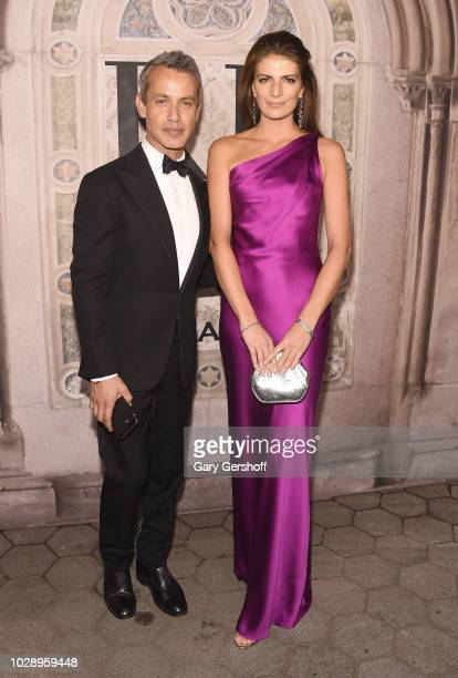 Andrew Lauren and Natascha Schuetz attend the Ralph Lauren 50th Anniversary event during New York Fashion Week at Bethesda Terrace on September 7,...
