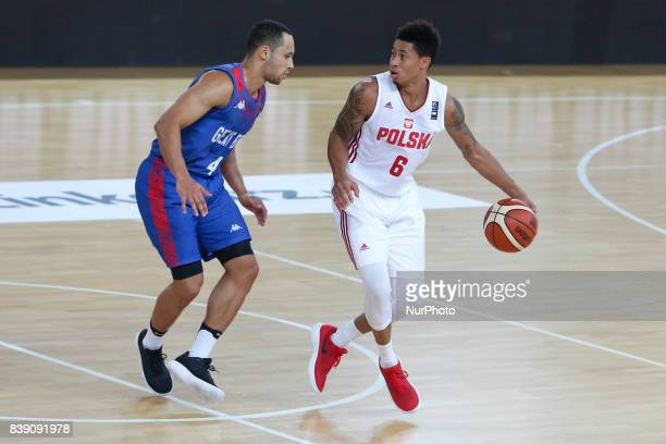 Andrew Lawrnce AJ Slaughter during basketball friendly tournament match between Poland and Great Britain on 25 August 2017 in Legionowo Poland Poland...