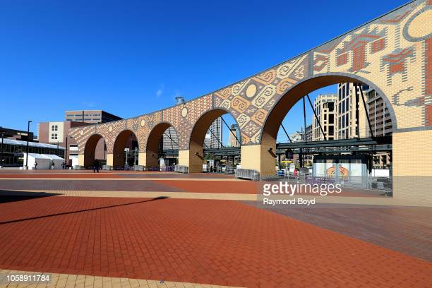Andrew Leicester and Jane Zweig's set of large ornamental arches at the U.S. Bank Stadium Metro blue and green line station in Minneapolis, Minnesota...