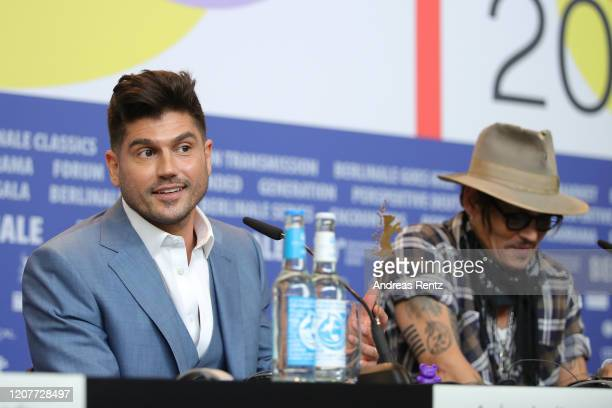 Andrew Levitas and Johnny Depp are seen at the Minamata press conference during the 70th Berlinale International Film Festival Berlin at Grand Hyatt...