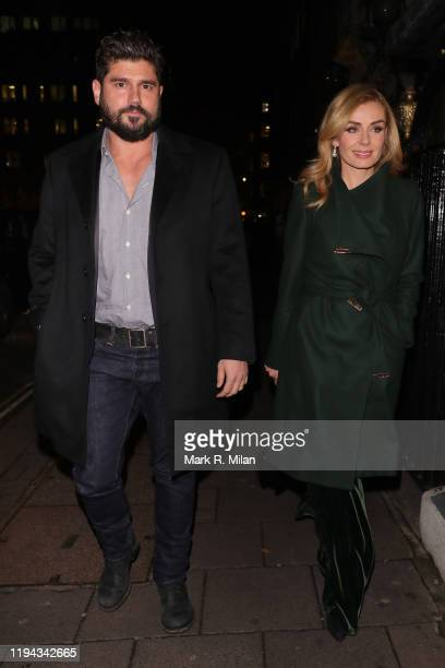 Andrew Levitas and Katherine Jenkins arriving at Annabel's club on December 16 2019 in London England