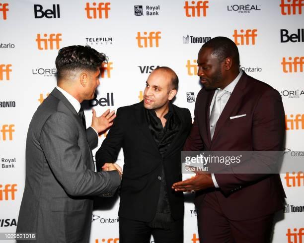 Andrew Levitas Ilan Eshkeri and Adewale AkinnuoyeAgbaje attend the 'Farming' premiere during 2018 Toronto International Film Festival at Scotiabank...
