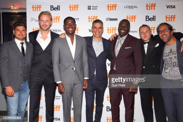 Andrew Levitas Tom Canton Damson Idris guest Adewale AkinnuoyeAgbaje Theo BarklemBiggs and guest attend the 'Farming' premiere during 2018 Toronto...