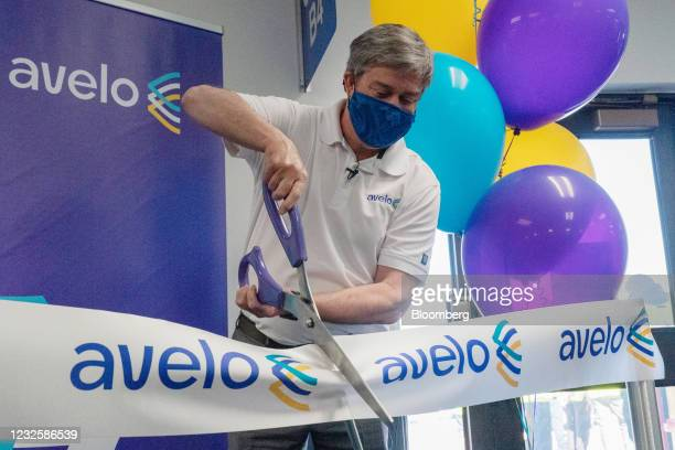 Andrew Levy, chief executive officer of Avelo Airlines, cuts a ceremonial ribbon ahead of the airline's inaugural flight at Hollywood Burbank Airport...