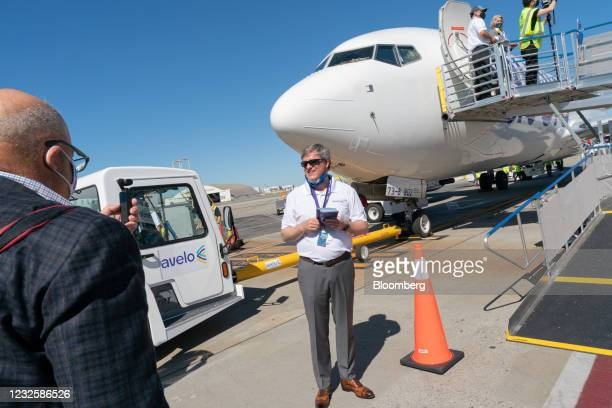 Andrew Levy, chief executive officer of Avelo Airlines, on the tarmac the airline's inaugural flight at Hollywood Burbank Airport in Burbank,...
