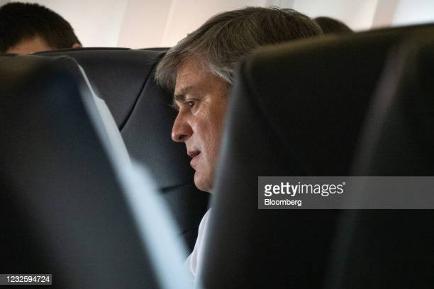 Andrew Levy, chief executive officer of Avelo Airlines, sits aboard the Avelo Airlines return flight from Charles M. Schulz Sonoma County Airport in...