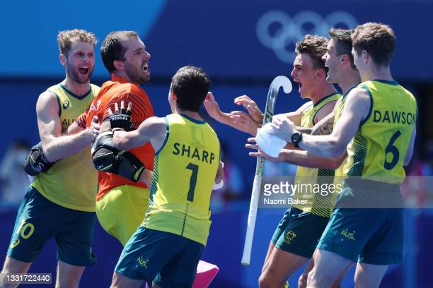 Andrew Lewis Charter, Joshua Beltz, Lachlan Thomas Sharp and Matthew Dawson of Team Australia and teammates celebrate after winning the penalty...