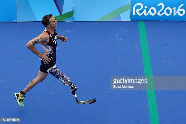 Andrew Lewis of Great Britain competes in the men's triathlon PT12 at Fort Copacabana during day 3 of the Rio 2016 Paralympic Games on September 10...