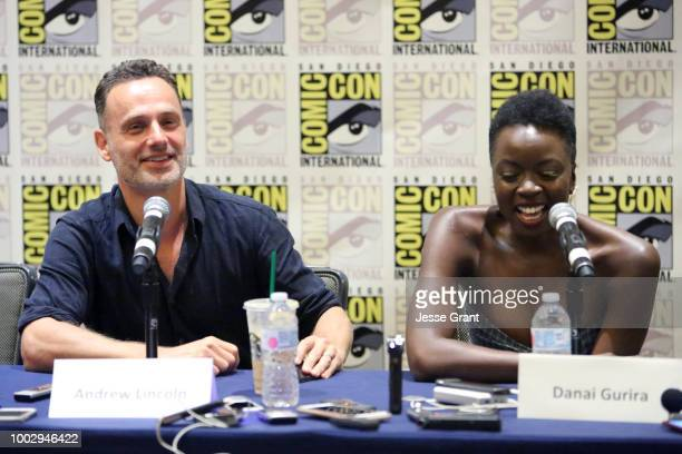 Andrew Lincoln and Danai Gurira speak during Comic Con 2018 on July 20 2018 in San Diego California