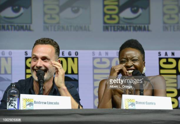 "Andrew Lincoln and Danai Gurira speak onstage at AMC's ""The Walking Dead"" panel during Comic-Con International 2018 at San Diego Convention Center on..."