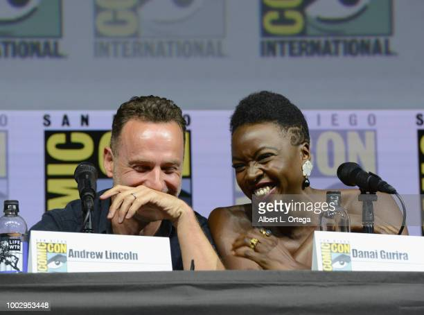 Andrew Lincoln and Danai Gurira speak onstage at AMC's 'The Walking Dead' panel during ComicCon International 2018 at San Diego Convention Center on...
