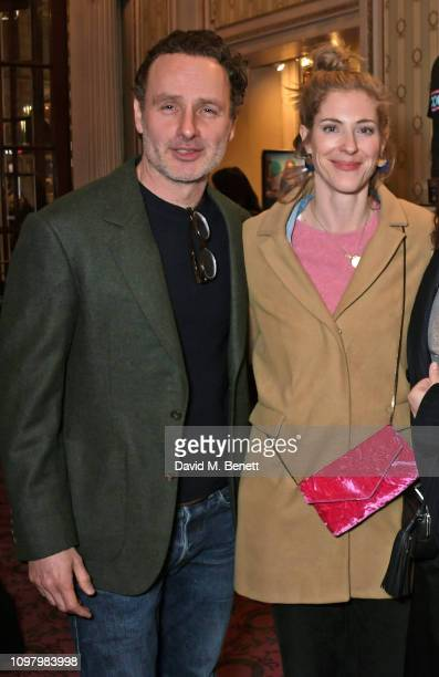 Andrew Lincoln and Gael Anderson attend a performance of 'Company' in the West End at The Gielgud Theatre on February 11 2019 in London England