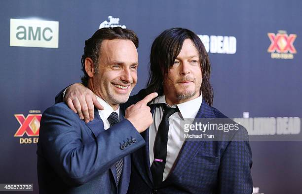 Andrew Lincoln and Norman Reedus arrive at AMC's The Walking Dead Season 5 Premiere held at AMC Universal City Walk on October 2 2014 in Universal...