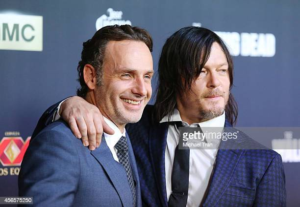 Andrew Lincoln and Norman Reedus arrive at AMC's 'The Walking Dead' Season 5 Premiere held at AMC Universal City Walk on October 2 2014 in Universal...