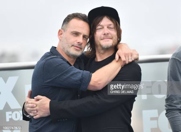 Andrew Lincoln and Norman Reedus arrive for 'The Walking Dead' photo call at ComicCon International 2018 in San Diego California on July 20 2018