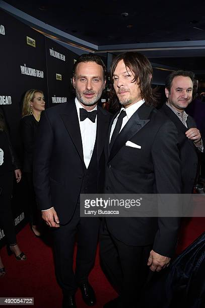 Andrew Lincoln and Norman Reedus attend AMC's 'The Walking Dead' Season 6 Fan Premiere Event 2015 at Madison Square Garden on October 9 2015 in New...