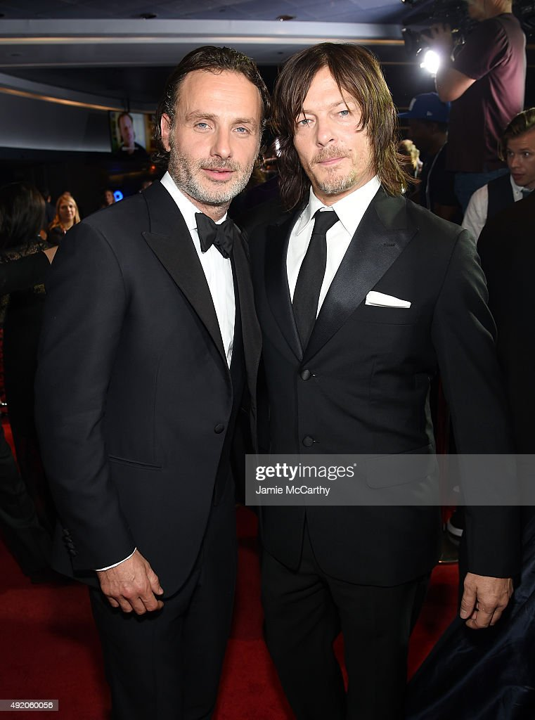 Andrew Lincoln and Norman Reedus attend AMC's 'The Walking Dead' Season 6 Fan Premiere Event 2015 at Madison Square Garden on October 9, 2015 in New York City.