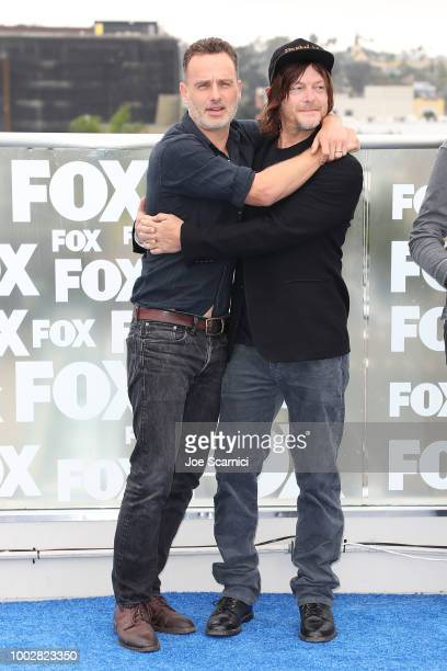 Andrew Lincoln and Norman Reedus attend the 'Walking Dead' photocall at ComicCon International 2018 on July 20 2018 in San Diego California