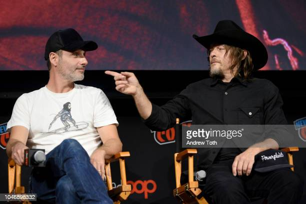 Andrew Lincoln and Norman Reedus speak onstage during The Walking Dead panel during New York Comic Con at Jacob Javits Center on October 6, 2018 in...