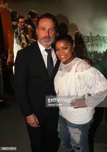 Andrew Lincoln and Yvette Nicole Brown attend The Walking Dead 100th Episode Premiere and Party on October 22 2017 in Los Angeles California