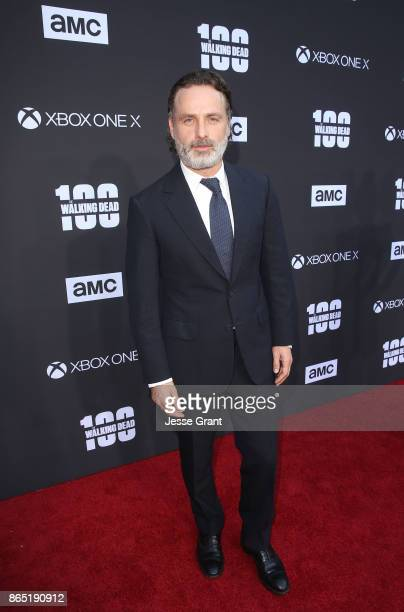 Andrew Lincoln arrives at The Walking Dead 100th Episode Premiere and Party on October 22 2017 in Los Angeles California