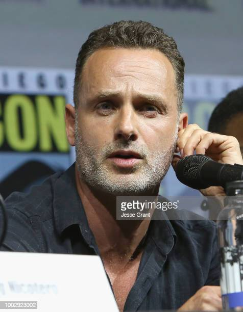 Andrew Lincoln attends 'The Walking Dead' panel with AMC during during ComicCon International 2018 at San Diego Convention Center on July 20 2018 in...