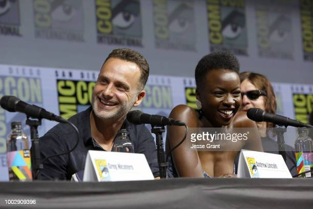 Andrew Lincoln Danai Gurira and Norman Reedus attend 'The Walking Dead' panel with AMC during during ComicCon International 2018 at San Diego...
