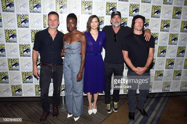 Andrew Lincoln, Danai Gurira, Lauren Cohan, Jeffrey Dean Morgan, and Norman Reedus attend The Walking Dead Press Conference during Comic Con 2018 on...