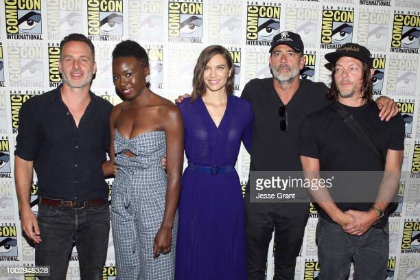 Andrew Lincoln Danai Gurira Lauren Cohan Jeffrey Dean Morgan and Norman Reedus attend The Walking Dead Press Conference during Comic Con 2018 on July...