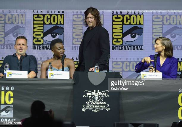 Andrew Lincoln Danai Gurira Norman Reedus and Lauren Cohan speak onstage at AMC's 'The Walking Dead' panel during ComicCon International 2018 at San...