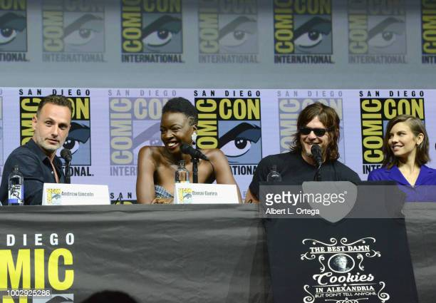 "Andrew Lincoln, Danai Gurira, Norman Reedus, and Lauren Cohan speak onstage at AMC's ""The Walking Dead"" panel during Comic-Con International 2018 at..."