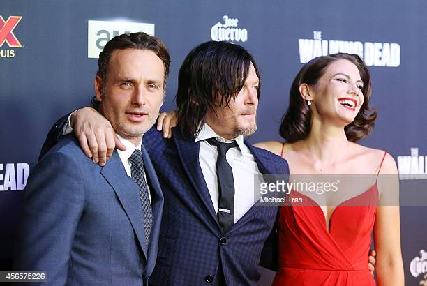 "Andrew Lincoln, Norman Reedus and Lauren Cohan arrive at AMC's ""The Walking Dead"" Season 5 Premiere held at AMC Universal City Walk on October 2,..."