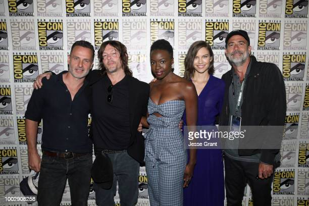 Andrew Lincoln Norman Reedus Danai Gurira Lauren Cohan and Jeffrey Dean Morgan attend 'The Walking Dead' panel with AMC during during ComicCon...