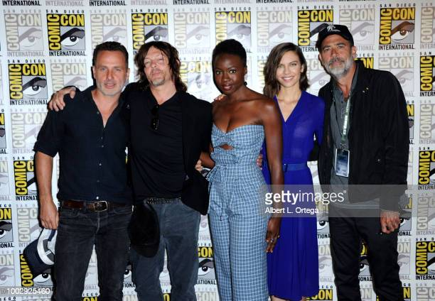 "Andrew Lincoln, Norman Reedus, Danai Gurira, Lauren Cohan, and Jeffrey Dean Morgan attend AMC's ""The Walking Dead"" panel during Comic-Con..."