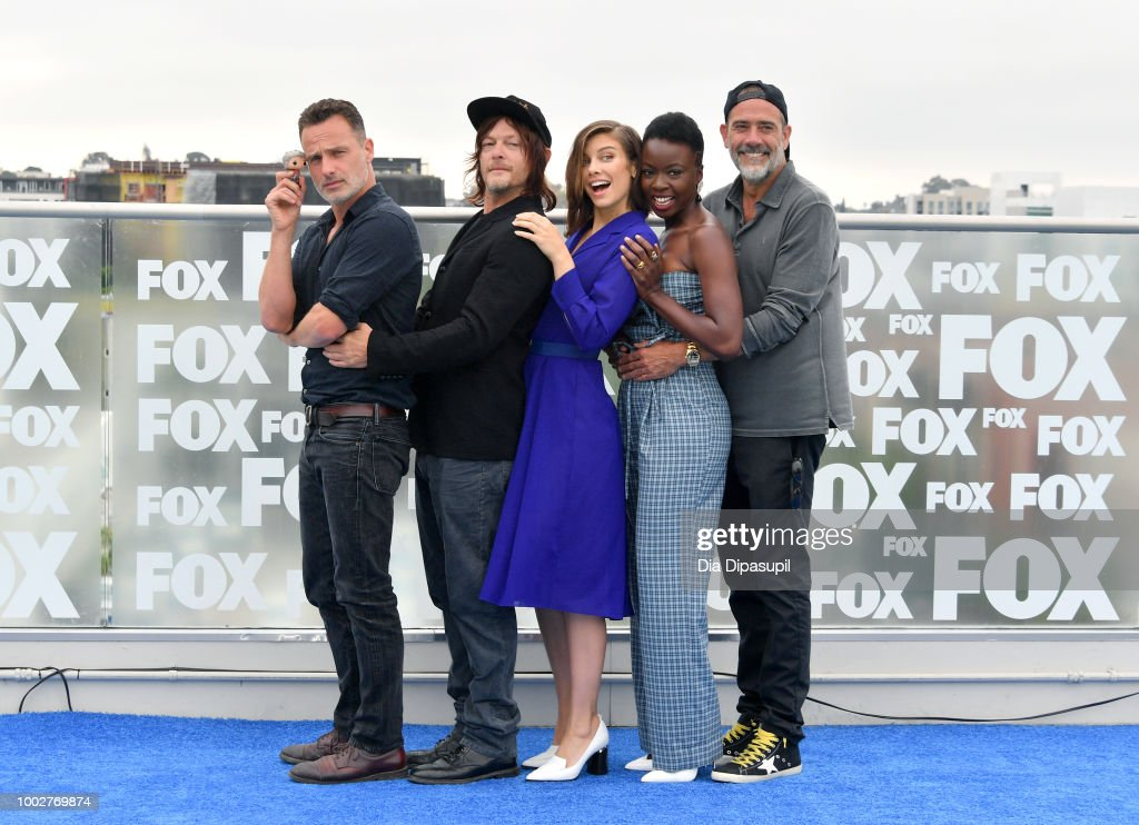 Andrew Lincoln, Norman Reedus, Lauren Cohan, Danai Gurira, and Jeffrey Dean Morgan attend 'The Walking Dead' Photo Call during Comic-Con International 2018 at Andaz San Diego on July 20, 2018 in San Diego, California.