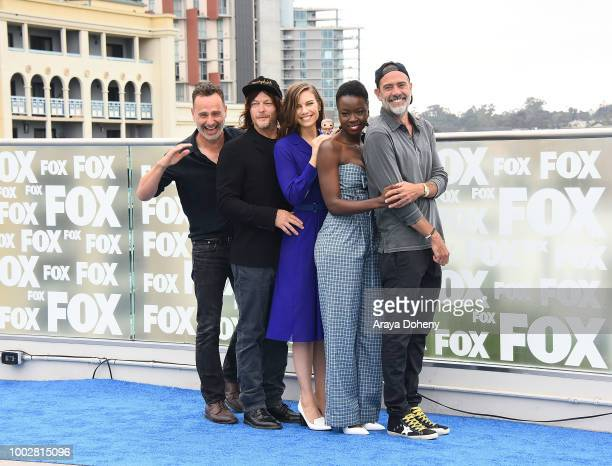 Andrew Lincoln Norman Reedus Lauren Cohan Danai Gurira and Jeffrey Dean Morgan attend 'The Walking Dead' press line at ComicCon International 2018 on...