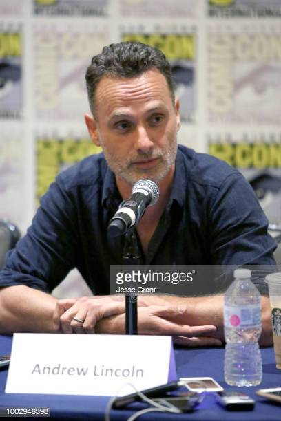 Andrew Lincoln speaks at The Walking Dead Press Conference during Comic Con 2018 on July 20 2018 in San Diego California