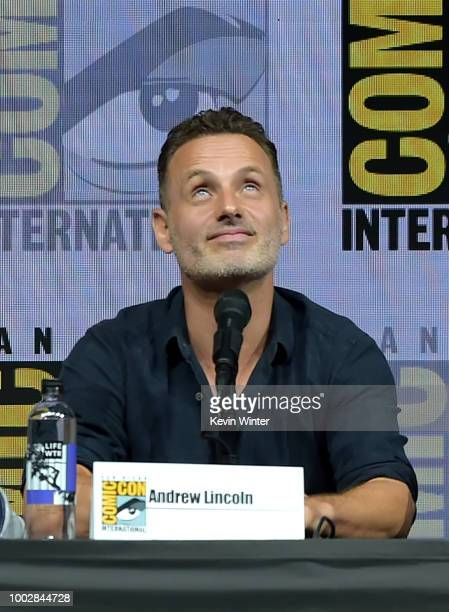 Andrew Lincoln speaks onstage at AMC's 'The Walking Dead' panel during ComicCon International 2018 at San Diego Convention Center on July 20 2018 in...