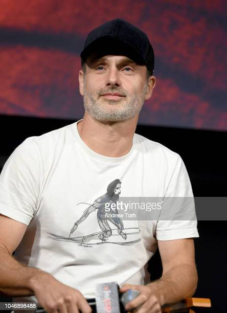 Andrew Lincoln speaks onstage during The Walking Dead panel during New York Comic Con at The Hulu Theater at Madison Square Garden on October 6 2018...