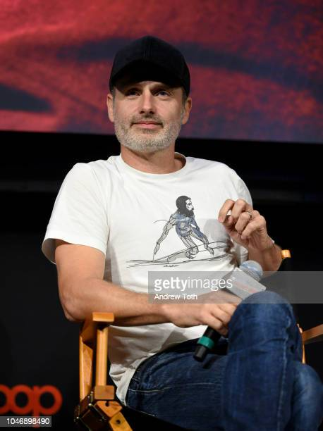 Andrew Lincoln speaks onstage during The Walking Dead panel during New York Comic Con at The Hulu Theater at Madison Square Garden on October 6, 2018...