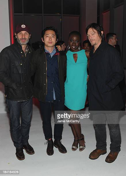 Andrew Lincoln Steven Yeun Danai Gurira and Norman Reedus attend Hyundai presents The Walking Dead A Decade of Dead at Pillars 37 on October 11 2013...