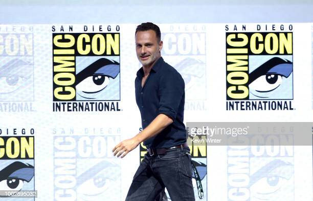 Andrew Lincoln walks onstage at AMC's 'The Walking Dead' panel during ComicCon International 2018 at San Diego Convention Center on July 20 2018 in...
