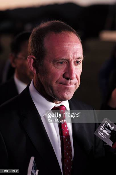 Andrew Little takes a press conference at the Upper Treaty Grounds on February 6 2017 in Waitangi New Zealand The Waitangi Day national holiday...