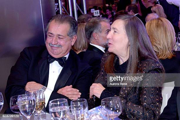 Andrew Liveris and Jenny Holzer attend Royal Academy America Gala Honoring Norman Foster and Jenny Holzer at Hearst Tower on November 15 2016 in New...
