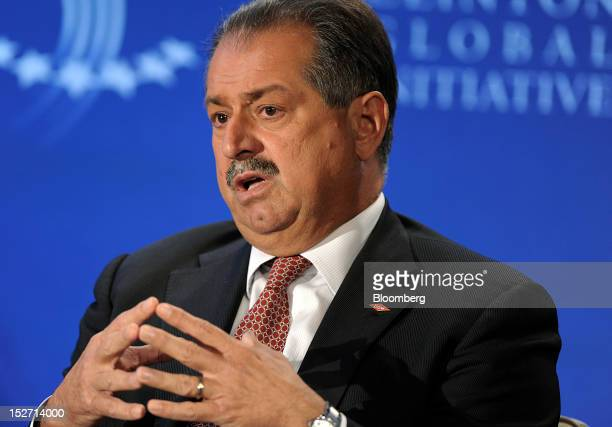 Andrew Liveris chairman and chief executive officer of Dow Chemical Co speaks at the annual meeting of the Clinton Global Initiative in New York US...