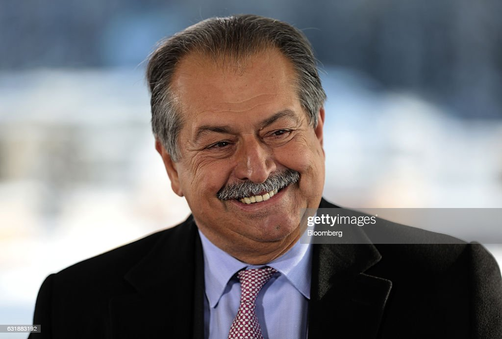 Andrew Liveris, chairman and chief executive officer of Dow Chemical Co., reacts during a Bloomberg Television interview at the World Economic Forum (WEF) in Davos, Switzerland, on Tuesday, Jan. 17, 2017. World leaders, influential executives, bankers and policy makers attend the 47th annual meeting of the World Economic Forum in Davos from Jan. 17 - 20. Photographer: Simon Dawson/Bloomberg via Getty Images