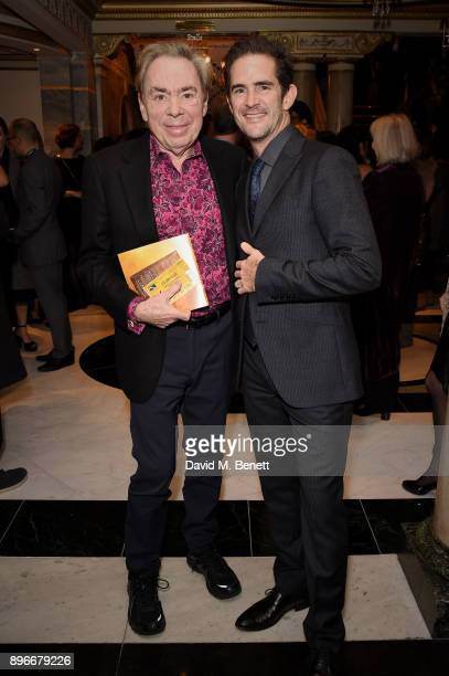 Andrew Lloyd Webber and Andy Blankenbuehler attend the press night performance of 'Hamilton' at The Victoria Palace Theatre on December 21 2017 in...