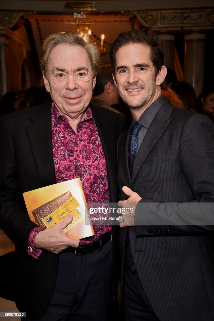 Andrew Lloyd Webber and Andy Blankenbuehler attend the press night performance of 'Hamilton' at The Victoria Palace Theatre on December 21, 2017 in London, England.