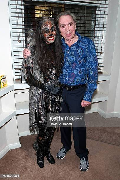 Andrew Lloyd Webber and Beverley Knight pose backstage following the press night performance of 'Cats' at the London Palladium on October 27 2015 in...
